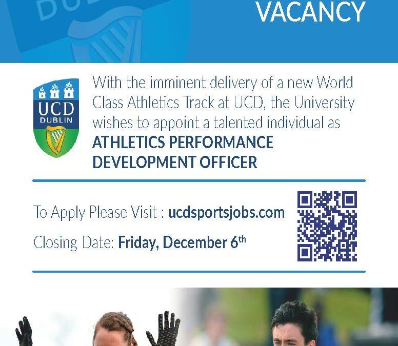 VACANCY – Athletics Performance Development Officerwithin UCD